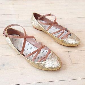 Zara Gold Glitter Ballet Strappy Flats